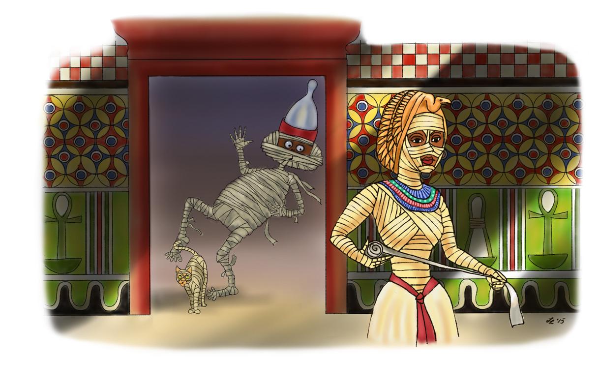 Mr Mummific sneaking off before his Missus rewraps him again...