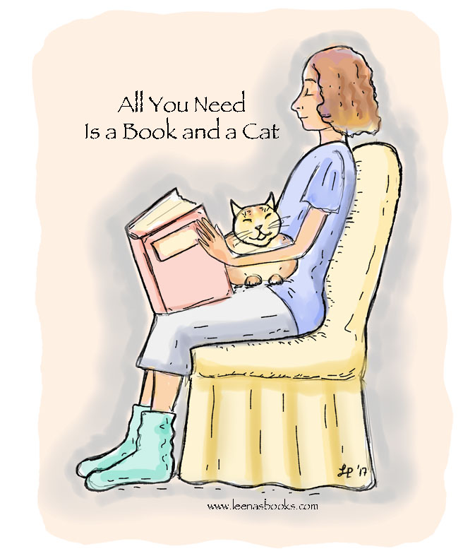 Leenasbooks sketch / All you need is a book and a cat